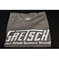 """GRETSCH """"THAT GREAT GRETSCH SOUND"""" TEE SHIRT SMALL SLATE"""