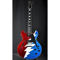 D'angelico Premier Series DC Grateful Dead Red White Blue Electric Guitar W/Gig Bag