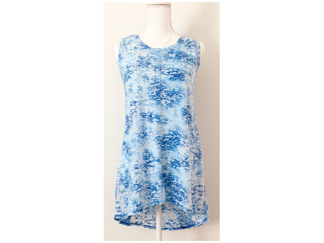 NWT $60 Two by Vince Camuto Burnout Tee Top Size S Relaxed Blue Hi-Low Poolside