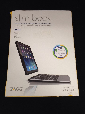 ZAGG Slim Book Case Ultrathin Hinged with Detachable Backlit Keyboard iPad Air 2
