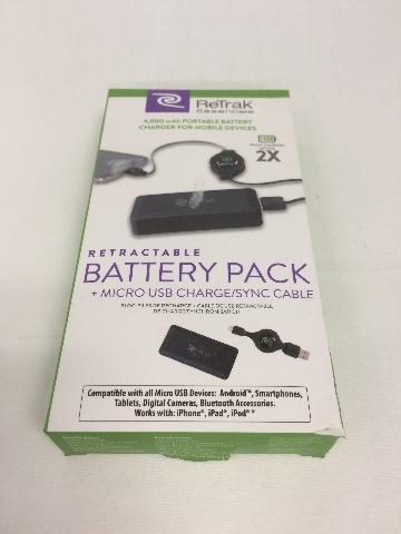 Retrak essentials retractable battery pack - black