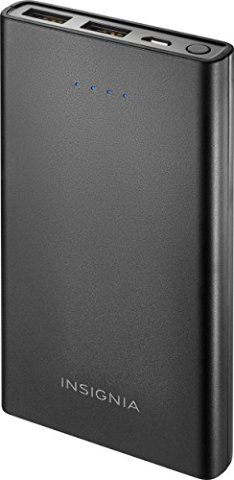 Insignia™ - 10,000 mAh Portable Charger for Most USB-Enabled Devices - Black