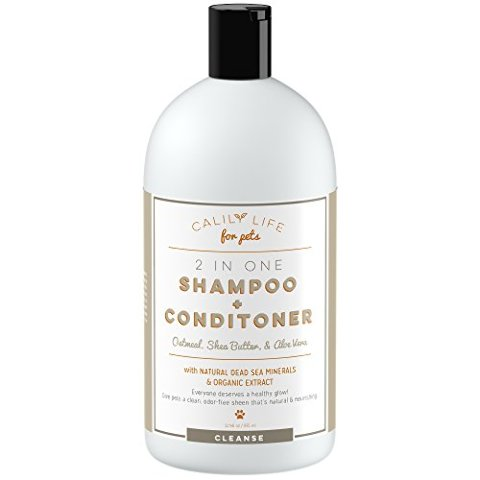 Calilylife Organic Oatmeal Dog And Cat Shampoo, Conditioner, 32 Oz.- Enriched -