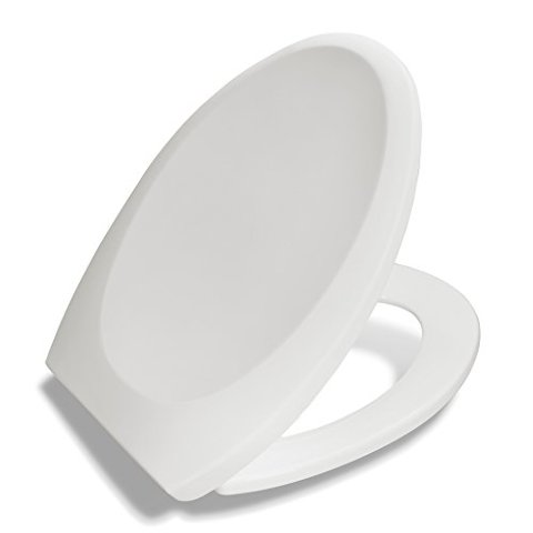 Bath Royale Premium Elongated Toilet Seat With Cover, White, Slow-Close, For All