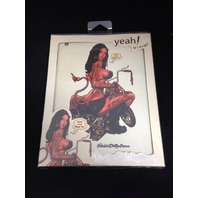 Yeah! Cover for iPad, Biker Girl Rocking Jelly Bean - White (RJB-BIKER-IPAD-WT)