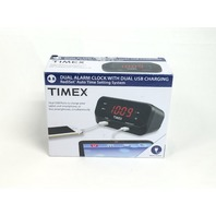 Timex RediSet Dual Alarm Clock with Dual USB Charging - Black (T129B)