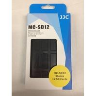 JJC Water-Resistant Holder Storage Memory Card Case for 12 SD Cards (Black)