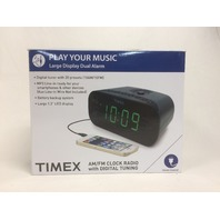 Timex Dual Alarm Clock Radio, 1.2-Inch Red Display, Line-In Jack (Gunmetal)