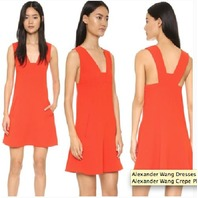Women's T by Alexander Wang Crepe Plunge Dress, Size 8 - RED