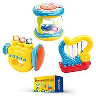 Musical Instruments for Baby Learning and Fun - Set of 3 Trumpet, Drum, Harp