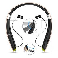 Senbowe Wireless Neckband Bluetooth Headset, Retractable Earbud Foldable Design