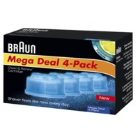 Braun Clean and Renew 4 Pack, Cartridge, Refill, Replacement Cleaner Solution