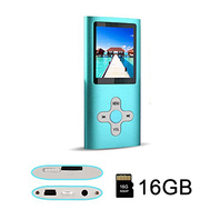 MP3 MP4 Player with a 16 GB Micro SD card, Support UP to 32GB TF Card, blue