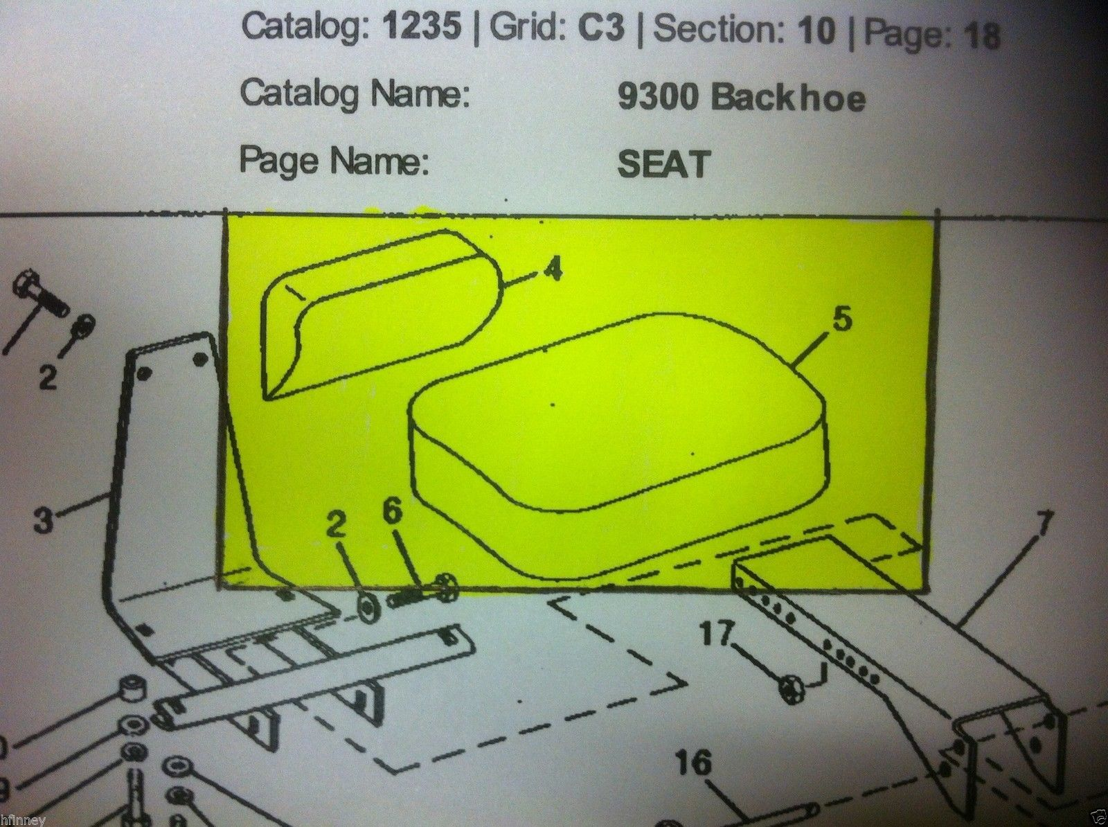 John Deere 350C 450C 550 9250 Backhoe Attachment Seat Cushion Set Back Bottom