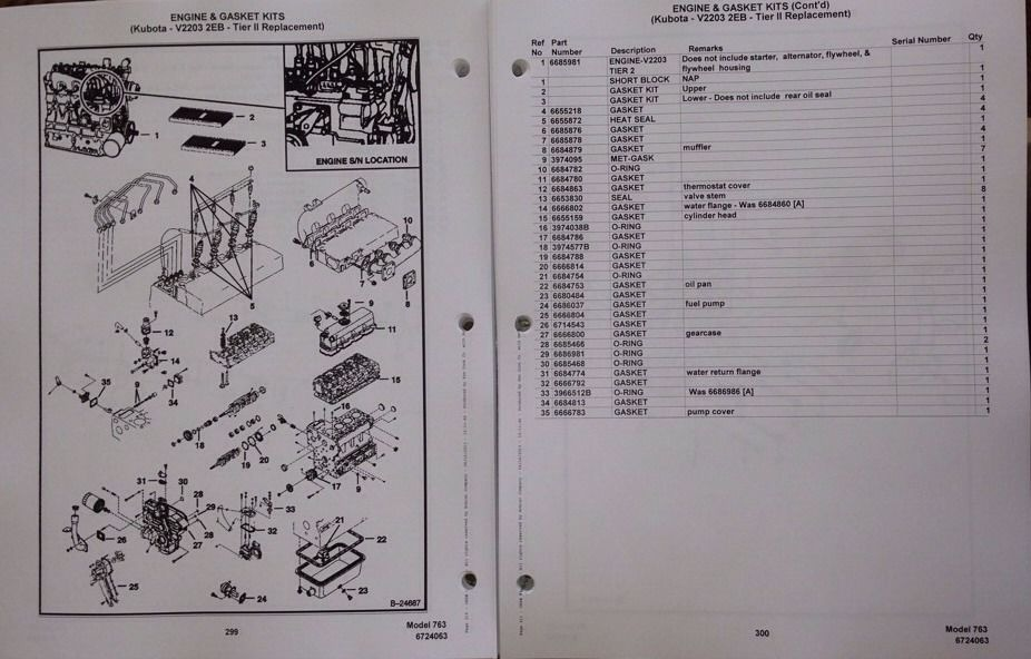 Bobcat 763 763f 763h Skid Steer Parts Manual Book 6724063