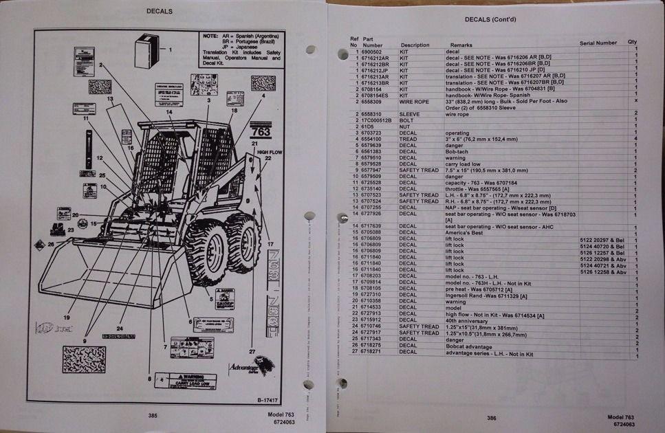 Bobcat 763 763f 763h Skid Steer Parts Manual Book 6724063 Early