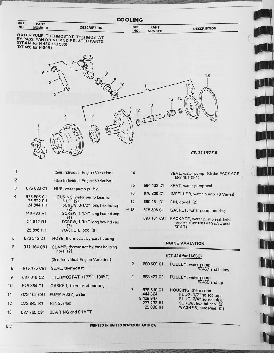 International Td15c Crawler Dozer Tractor Engine Parts Manual Book Long Diagrams Dt414 Dt466