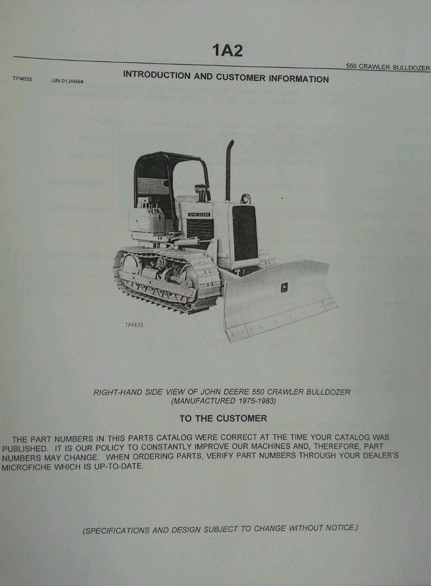 ... John Deere JD 550 Crawler Dozer Parts Manual PC1437 ...