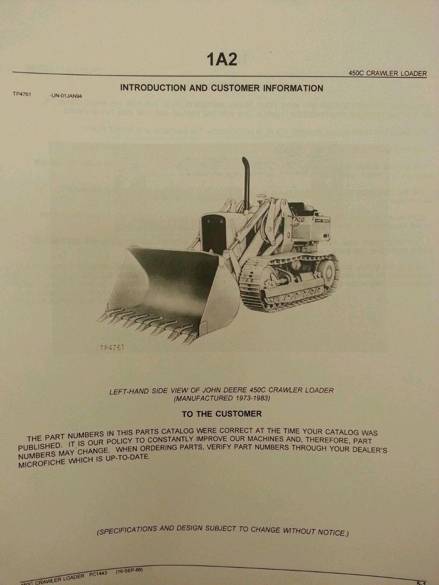 Details about  /Parts Manual John Deere 450C Crawler Loader pc1443