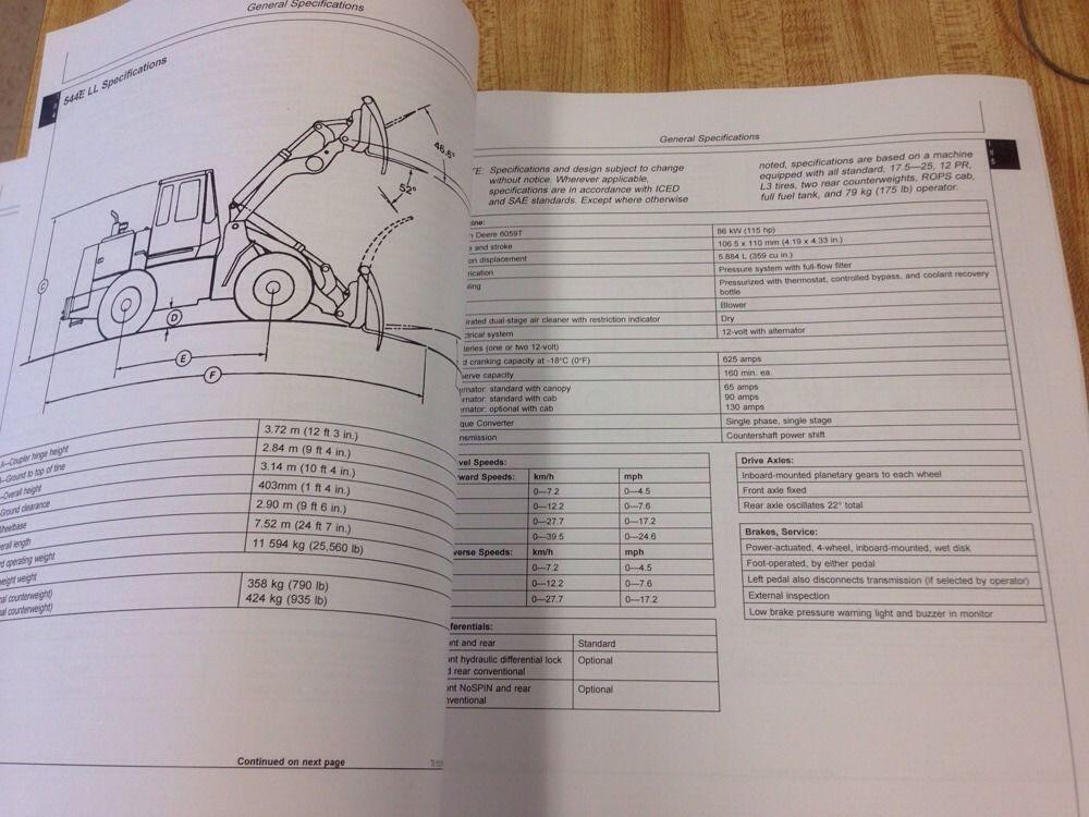 john deere jd 544e 624e 644e wheel loader service technical repair rh finneyparts us John Deere 737 Service Manual John Deere GT225 Manual