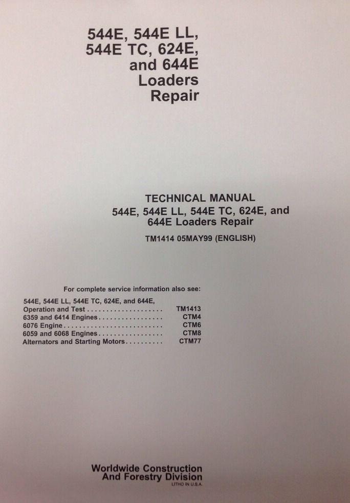 john deere jd 544e 624e 644e wheel loader service technical repair rh finneyparts us John Deere Parts Catalog John Deere Parts Catalog