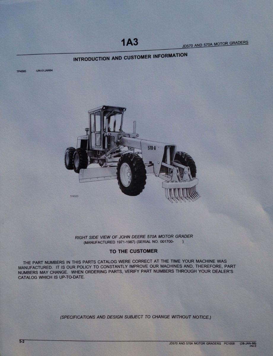 john deere jd 570 570a motor grader parts manual catalog book pc1058 rh finneyparts us Volvo G930b Grader 2001 Volvo G80 Motor Grader