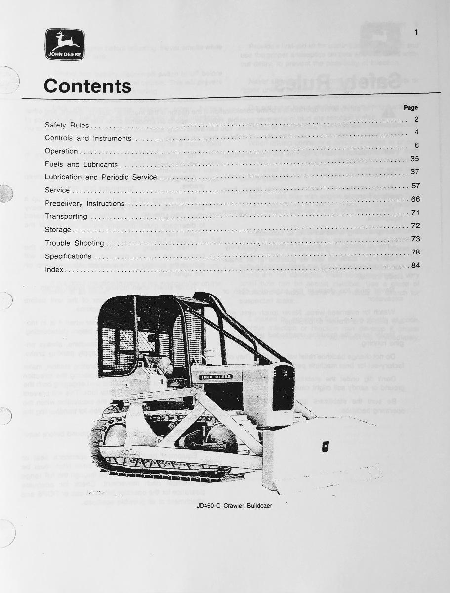 john deere jd 450c crawler bulldozer operator operation manual rh finneyparts us John Deere 450C Crawler Parts John Deere 450C Engine
