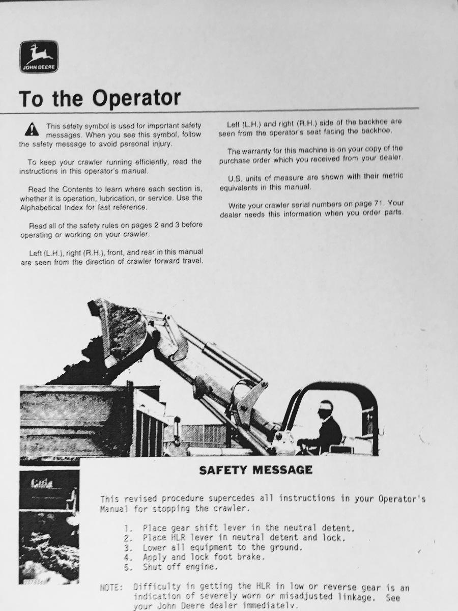 john deere jd 450c crawler loader operator operation manual omt62743 rh finneyparts us John Deere 450G Dozer John Deere 450G Dozer