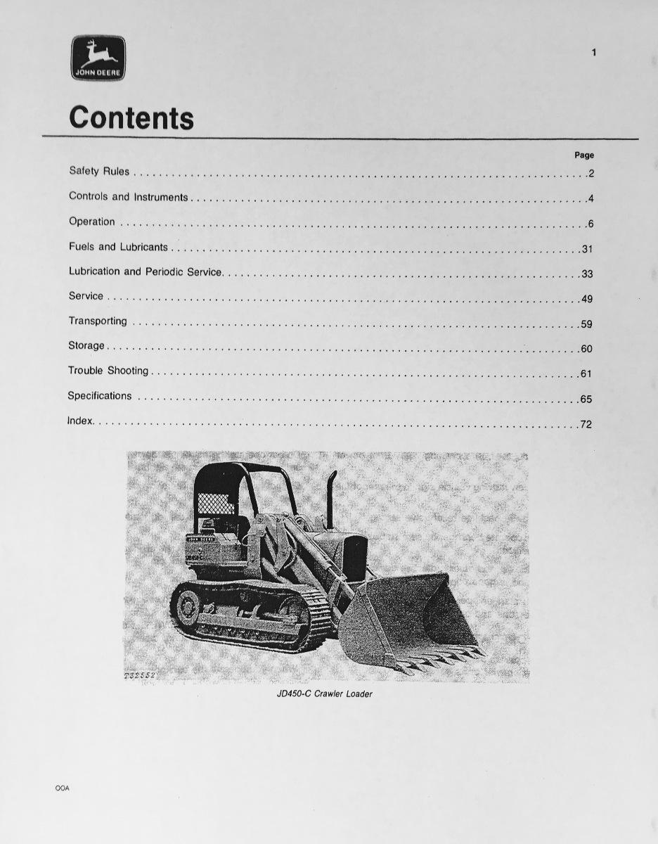 john deere jd 450c crawler loader operator operation manual omt62743 rh finneyparts us John Deere 450C Serial Numbers John Deere 450C Serial Numbers