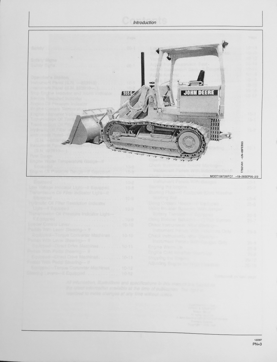 ... John Deere JD 455G and 555G TC and Direct Drive Crawler Loader Operator  Operation Manual OMT163973 ...