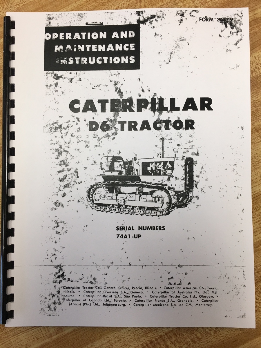Cat Caterpillar D6 D6C Operator Manual Book Dozer Crawler Ser Num 74A  OPERATION MAINTENANCE