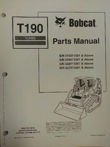 Bobcat T190 Turbo Skid Steer Parts Manual Book 6901352