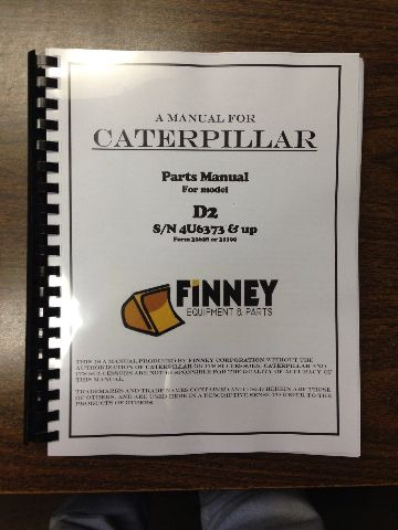 Cat Caterpillar D2 Parts Manual Book Dozer 4U S/N 4U6343 & UP