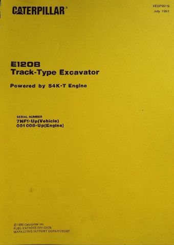 Cat Caterpillar E120B Excavator Parts Manual Book XEBP9919 7NF1-UP S4K-T Engine