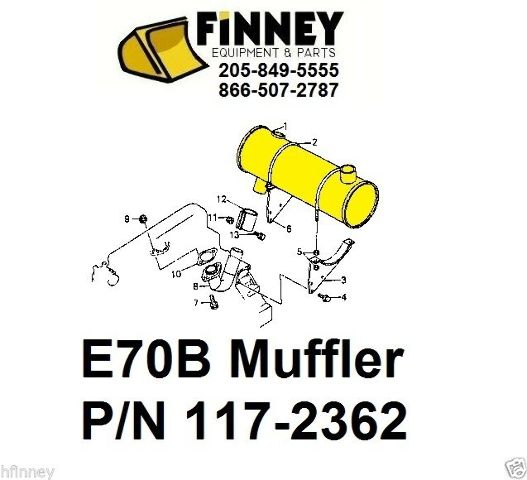 Cat Caterpillar E70B 307 Excavator NEW Muffler 117-2362 096-9205 5I9076 7I8874