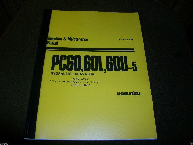 KOMATSU PC60-5 PC60 Hydraulic Excavator Operation Maintenance Manual Book