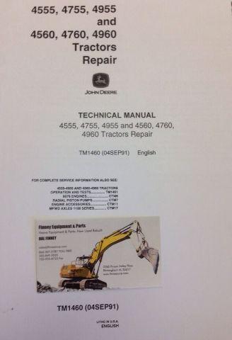 John Deere JD 4555 4755 4955 4560 4760 Farm Tractor Service Repair Manual TM1460