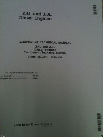 John Deere 325 328 320 Skid Steer 2.4 3.0 POWERTECH ENGINE SERVICE MANUAL CTM301