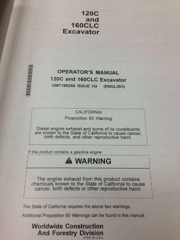 John Deere JD 120C 160CLC excavator Operator's Maintenance Manual OMT188255