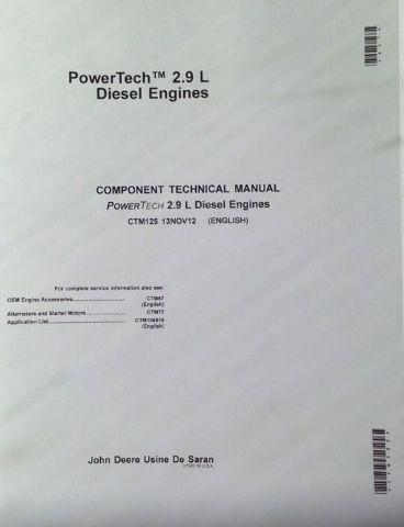 John Deere 2.9L Diesel POWERTECH ENGINE SERVICE MANUAL CTM125