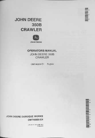 John Deere JD 350B Crawler Loader 350B Crawler Bulldozer Operator Manual OMT46859 E4