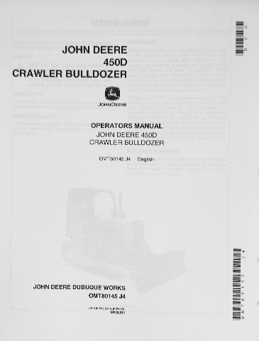 John Deere JD 450D Crawler Bulldozer Operator Operation Manual OMT80145 J4