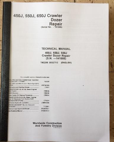 JOHN DEERE 450J 550J 650J CRAWLER DOZER REPAIR MANUAL SERVICE TM2258 EARLY SERIAL #