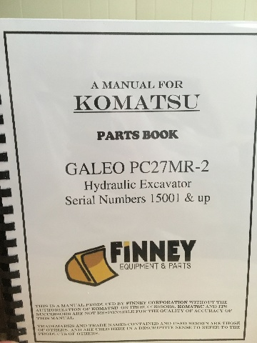 KOMATSU PC27MR-2 Hydraulic Excavator Parts Manual book