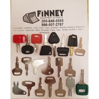 Construction Equipment key set John Deere Hitachi JD JCB excavator backhoe multi