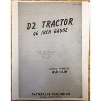 Cat Caterpillar D2 Parts Manual Book Dozer Crawler Ser Num 4U 4U1-6342