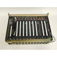 Used Allen Bradley 12 Slot I/O Chassis 1771-A3B1 With 7 Input & 3 Output Modules