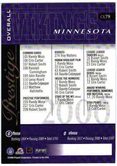 DAUNTE CULPEPPER 2000 Playoff Prestige Team Checklist Foil Auto On Card  BV$40