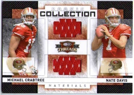 info for 35ebb 28eb6 MICHAEL CRABTREE NATE DAVIS 2008 Threads Rookie Jersey Card /500 49ers