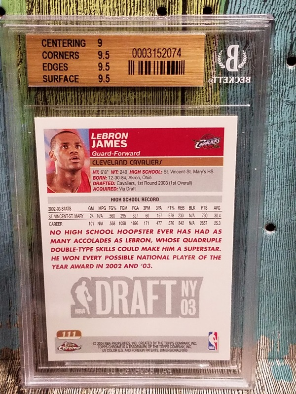 Lebron James 2003 04 Topps Chrome Rc Rookie Card 111 Graded 95